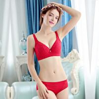 大码文胸套装红色结婚胖mm200斤聚拢内衣薄款性感大胸显小全罩杯F 红色套装