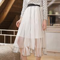 茉蒂菲莉 裤裙 女士不规则裙子夏装新款时尚韩版女装短裙高腰显瘦女式A字裙纯色OL半身裙