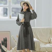 韩版文艺衬衫裙连衣裙秋季长袖女2018新款复古格子pphome裙子长裙 黑色