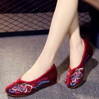 新款老北京布鞋女绣花鞋小坡跟民族风刺绣亚麻透气内增高休闲鞋子