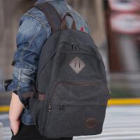 男士双肩包休闲帆布背包复古潮流大容量中大学生书包包旅游旅行包