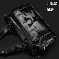 韩版男士单肩包斜挎包手提包斜跨 旅行包休闲包潮包男包包 大包 耐磨升级款