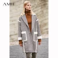 【到手价:441元】Amii极简chic英伦学院风毛呢外套女2018冬季新款宽松翻领格子大衣