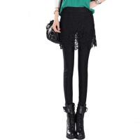 秋冬裙裤女外穿加绒蕾丝一体裤裙包臀带裙假两件打底裤