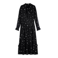 2018新款黑色印花雪纺长袖连衣裙女秋冬高腰显瘦宽松中长款打底裙 黑色