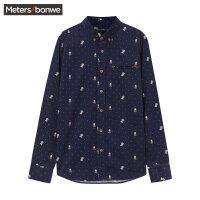 美特斯邦威长袖衬衫男士秋装加厚保暖灯芯绒休闲印花衬衣韩版潮