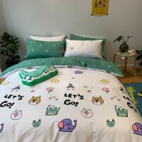 【人气】床上四件套全棉纯棉ins网红款夏季床单被套被单人宿舍1.2米三件套