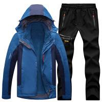 三合一冲锋衣男套装冲锋衣裤套装女可拆卸两件套户外登山服男套装