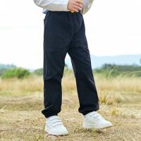 【2件7折到手价:102】小猪班纳童装男童裤子2021春季新款百搭束脚长裤儿童黑色休闲裤