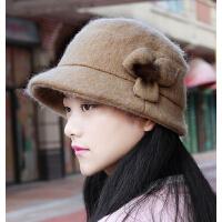 女士时尚毡帽渔夫帽呢子帽 潮流时装帽盆帽羊毛呢画家帽