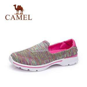 Camel/骆驼女鞋 2017秋季新款 轻便透气飞织布单鞋 舒适防滑百搭休闲鞋
