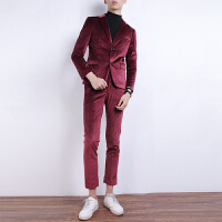 男士小西装外套复古红色金丝绒修身韩版英伦风帅气西服套装男
