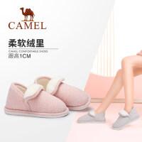 Camel/骆驼女鞋秋冬新款简约纯色保暖居家棉拖鞋包后跟毛毛鞋