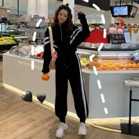 休闲运动服套装女春秋2019新款韩版嘻哈个性卫衣宽松阔腿裤两件套