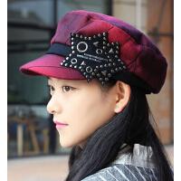 新品潮流加绒仿羊毛呢平顶帽 时尚女士鸭舌帽海军帽空姐帽
