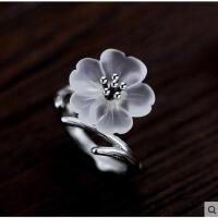 日韩时尚百搭樱花开口食指女生银戒指女指环925银花朵个性手工银饰品女款