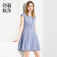 ⑩OSA欧莎2018夏装新款女装 简约条纹通勤V领无袖连衣裙