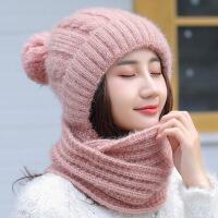 帽子女秋冬季韩版保暖百搭骑车护耳针织连帽子围巾一体女冬毛线帽