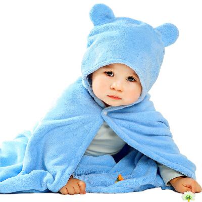 【一件包邮】卡伴儿童浴巾斗篷宝宝超柔吸水带帽浴巾新生儿婴儿大浴袍65*110cm超柔易干 A类 不含甲醛 无荧光剂