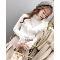№【2019新款】女冬装新款韩版重工钉珠蕾丝拼接半高领长袖毛衣 均码