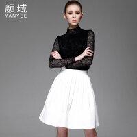 颜域品牌女装2017秋装新款时尚高弹长袖打底衫高领上衣百搭蕾丝衫