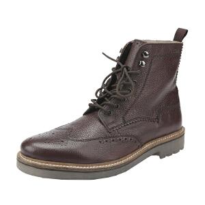 Clarks/其乐男鞋2017秋冬新款雕花布洛克高帮马丁靴Monmart Rise专柜正品直邮