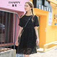 海贝夏季新款女装 圆领短袖蕾丝拼接假两件高腰连衣裙小黑裙
