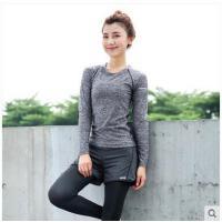 瑜伽服显瘦透气女子弹力紧身健身房上衣速干跑步运动长袖T恤 啊