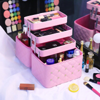 韩国大容量多层化妆包女便携旅行手提收纳化妆箱护肤品纹绣化妆盒