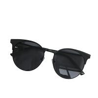 韩国大框圆形显脸小墨镜金属复古蛤蟆眼镜框架男女潮素颜神器潮人