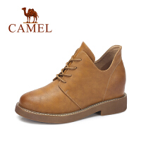 camel/骆驼女鞋 2017冬季新款 帅气英伦范短靴女简约系带低跟内增高靴子