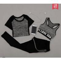 短袖上衣瑜伽服跑步运动服背心速干衣三件套 健身房服女套装健身训练房运动服