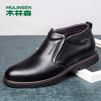 木林森男靴冬季新款牛皮橡胶大底商务休闲高帮靴子套脚短靴皮靴靴子男78054012