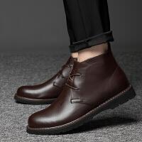 新款英伦风时尚青年男士皮鞋商务休闲牛皮马丁靴潮流百搭大码短筒机车靴