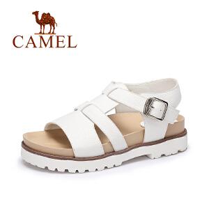 camel骆驼女鞋 春夏新款 休闲低跟罗马鞋 一字扣厚底凉鞋
