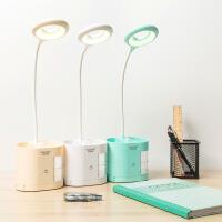 台灯护眼学习创意LED笔筒手机充电触摸调光触控床头卧室折叠台灯7jy