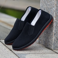 黑布鞋休闲男鞋单鞋增高厚底一脚蹬工作鞋司机劳保 37相巾 单鞋