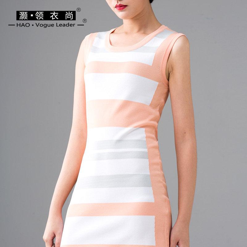 2018夏季新款条纹无袖打底连衣裙紧身裙修身包臀撞色拼接针织收腰