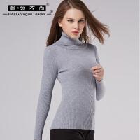 高领打底衫长袖秋冬紧身加厚纯色针织衫女士羊毛衫短款修身特惠