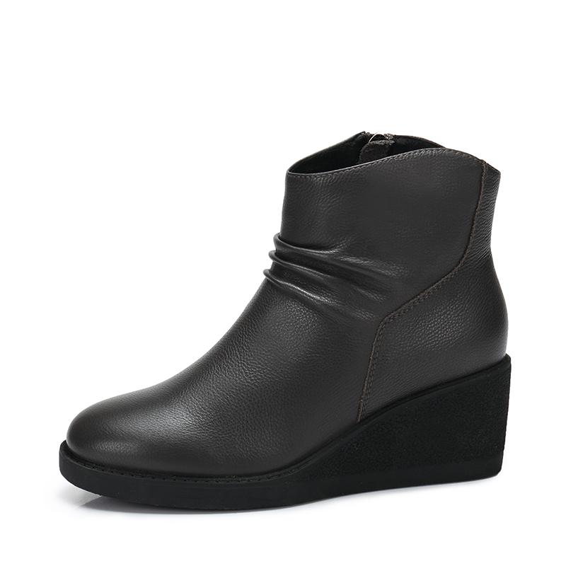 camel/骆驼女鞋 秋冬新款 简约圆头坡跟短靴 拉链头层牛皮短筒靴子