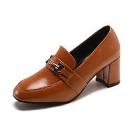 大东同款潮牌女鞋子夏季新款韩版时尚百搭高跟鞋粗跟单鞋英伦皮鞋