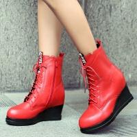 娜箐箐冬新款欧美牛皮坡跟防水台短筒靴女鞋真皮高跟圆头女靴