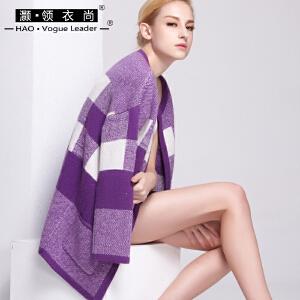 灏领衣尚街头修身毛衣女针织开衫外套冬加厚中长款格子风衣百搭