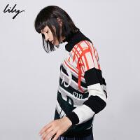 【6/4-6/8 一口价:189元】 Lily春女装条纹字母提花直筒毛衣毛针织衫118450B8716