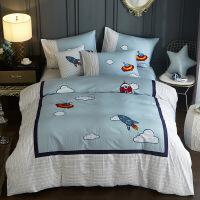 【夏季新品】儿童床单四件套男孩纯棉卡通被套1.2米1.5床笠式三件套蓝色地中海【】