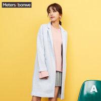 美特斯邦威毛呢外套女文艺冬装舒适中长款西装领大衣韩版学生潮