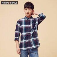 美特斯邦威长袖衬衫男士秋冬装韩版格子衬衣舒适青少年寸衫学生