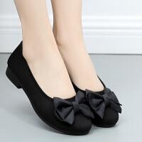 老北京女单鞋时尚圆头新款平底黑色上班软底工作鞋女式