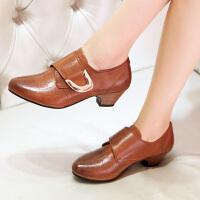 娜箐箐春季新款牛皮复古深口尖头粗跟女鞋中跟舒适真皮单鞋女