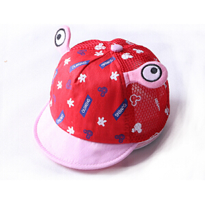 Yinbeler卡通婴儿帽立体大眼睛字母图案萌儿童鸭舌帽网眼帽可爱婴儿帽